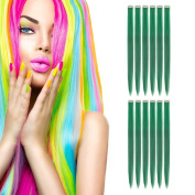 MIMAN 50cm Party Highlights Clip in Synthetic Hair Extensions 12 PCs Green Straight Hairpieces