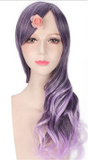 OYSRONG 70cm Fashion 2 Tones Ombre Colour Long Curly Cosplay Lace Front Wig For Women