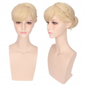 Deniya Short Straight Blonde Cosplay Wig with 1 Clip on Bun