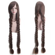 "Deniya 47"" 120cm Brown Long Braided Wig Pigtail Anime Cosplay Fancy Party Costume Wigs"