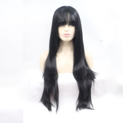 OMG Hair Silky Straight Synthetic Wigs With Bangs Long Heat Resistant Synthetic Lace Front Wig For Women #1B