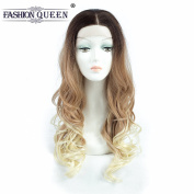 FASHION QUEEN HAIR Body Wave Lace Front Wigs Ombre Synthetic, Long Wavy Glueless Lace Wig Replacement Full Wig For Women Heat Resistant 70cm