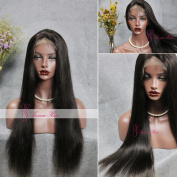 Annar 7A Brazilian Virgin Straight Full Lace Human Hair Wigs Silky Hair Glueless 130% Density with Baby Hair For African Americans Natural Colour 30cm