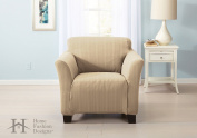 Darla Collection Platinum Strapless Slipcover. Form Fit, Slip Resistant, Stylish Furniture Shield / Protector with Cable Knit Fabric. By Home Fashion Designs Brand.