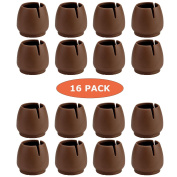 Chair Leg Caps Round, WarmHut 16pcs Transparent Clear Silicone Table Furniture Leg Feet Tips Covers, Felt Pads, Anti-slip Prevent Scratches, Wood Floor Protector (Round)