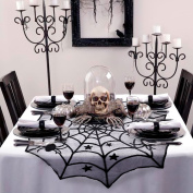 AerWo 100cm Black Spider Halloween Lace Table Topper Cloth for Halloween Table Decorations