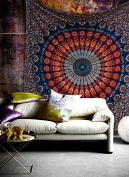 Queen Hippie Bohemian Psychedelic Peacock Mandala Wall Hanging Floral Tapestry Psychedelic Cotton Intricate Floral Designs Indian Traditional Bedspread Magical Thinking Large Tapestry