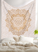 """Exclusive """" Orignal Gold Ombre Tapestry by Labhanshi"""" Ombre Bedding , Mandala Tapestry, Queen Indian Mandala Wall Art Hippie Wall Hanging Bohemian Bedspread"""