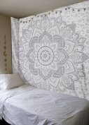 New Launched White Silver Passion Ombre Mandala Tapestry By Madhu International, Boho Mandala Tapestry, Wall Hanging, Gypsy Tapestry,Multicolor, 210cm X 140cm