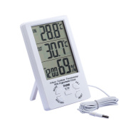 Outside & Inside Digital LCD Thermometer + Hygrometer With Min/ Max Value And Clock