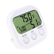 Indoor Thermometer — Hygrometer & Desktop Clock — Easy To Read & Accurate – Displays Temperature, Humidity and Time — Perfect For Your Bedroom, Kitchen or Office — Compact & Space Saving