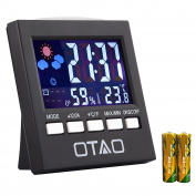 Otao Indoor Thermometer Hygrometer Humidity Monitor Backlight Digital Temperature Gauge Humidity Metre with Clock