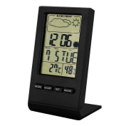 EverKing Indoor Humidity Monitor Hygrometer Digital Thermometer Monitor Home Weather Station with LCD Display Alarm Clock Calendar Function Black