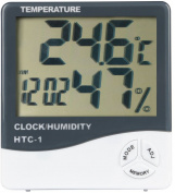 GPCT [2-In-1] Digital [Thermometer/Hygrometer] Temperature Gauge Metre W/ Alarm Clock. Indoor/Outdoor Humidity Monitor + LCD Display In Celsius/Fahrenheit. Great for Home/Living Room/Office- White