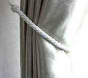 EleCharm Pair of Thick 1.5cm Natural Linen Colour Rope Curtain Tiebacks 60cm Long