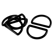 Unique Bargains Backpack Strap Band Plastic D Shaped Buckles Hooks Fasteners Black 6 Pcs