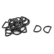 Backpack Plastic D Shaped Webbing Adjustive Connecting Loop Ring Black 20 Pcs