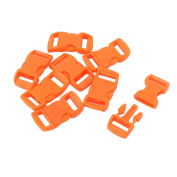 8 Pcs 11mm Width Orange Plastic Backpack Rucksack Quick Release Buckle Clip