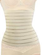 Unique Bargains Ladies Khaki Striped Design Stretchy Shapewear Tummy Waist Wrap Cincher M