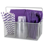 Ideal Traditions Utensil Mesh Caddy for Kitchen Condiments and Silverware – 4 Compartments - Elegant Silver Flatware Organiser - Holder for Spoons, Knives, Forks, Napkins, & More for Dining & Picnic