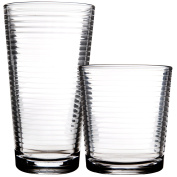 Palais Glassware Striped Collection; Striped Clear Glass Set