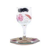 Vividly coloured In Light Red and Pink Colour Glass Kiddush Cup with Pomengranate Containing Flower design and Saucer