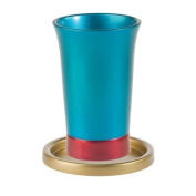 Yair Emanuel Anodized Aluminium Kiddush Cup and Plate - Turquoise, Red & Gold Modern Design