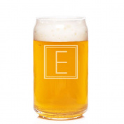 Initial Square Engraved Can Glass, Letter E