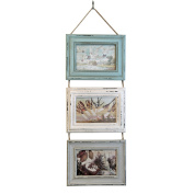 Just Contempo Rustic Triple Hanging Photo Frame - Green, Blue and Grey