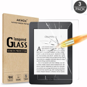 (3 Pack) Akwox Tempered Glass Screen Protector for Kindle Paperwhite, Akwox [0.3mm 2.5D High Definition 9H] Premium Glass Screen Protector for Amazon Kindle Paperwhite 1 / 2 / 3
