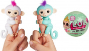 Fingerlings - Interactive Baby Monkeys 2 Pack- Sophie (White with Pink Hair) & Zoe (Turquoise with Purple Hair) - by WowWee BONUS LOL L.O.L Surprise Dolls Series 2 Lil Sisters Ball