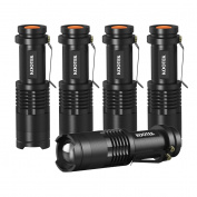 Kootek 5 Pack Tactical Mini LED Flashlight Ultra Bright 300 Lumens Handheld Flashlights Adjustable Focus Small for Kids Child Camping Cycling Hiking Emergency Torch Light
