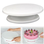 28cm Kitchen Cake Decorating Icing Rotating Turntable Cake Stand - White