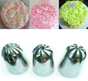 3 pcs Stainless steel piping icing nozzle set