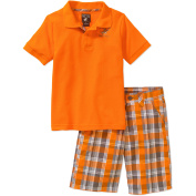 Beverly Hills Polo Club Boys' Solid Pique Polo With Plaid Poplin Shorts Two-Piece Set