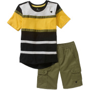 Blac Label Little Boys' 2-Piece Colorblock Tunic Tee and Cargo Shorts Set