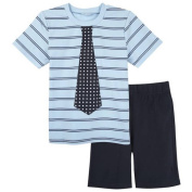 G-Cutee Little Boys Blue Striped Tee and Navy Shorts Outfit Set, Available in Size 4-7