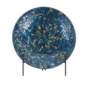 "16"" Pretty as a Peacock Blue Mosaic Charger and Stand"