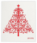 Swedish Dishcloth, Christmas Tree - ALL RED