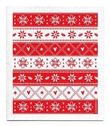 Swedish Dishcloth - Christmas Holiday KNITTED - RED