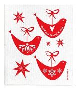 Swedish Dishcloth - Christmas Holiday DOVES - RED