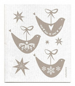 Swedish Dishcloth - Christmas Holiday DOVES - GREY