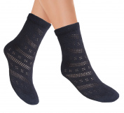 Ladies ventilated Pointelle maternity ankle socks with hand linked flat toe seam women's Pelerine short socks for swollen feet