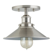 Linea di Liara Andante Industrial Factory Semi Flushmount Ceiling Lamp - Brushed Nickel One-Light Fixture with Metal Shade Exposed Hardware - 13cm Canopy - Downlight Modern Vintage LL-C407-BN