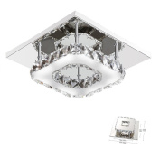 Mini Modern Crystal Chandelier Square Ceiling Lamp for Bedroom, Bathroom, Dining Room,21cm x 21cm ,12W