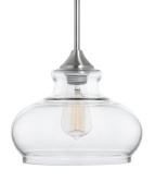 Linea di Liara Ariella Ovale Clear Glass One-Light Stem Hung Pendant Lamp, Brushed Nickel LL-P322