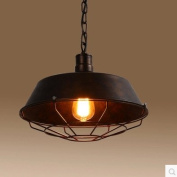 Adjustable Industrial Nautical Barn Cage Pendant Light - LITFAD 46cm Single Pendant Lamp with Rustic Dome/Bowl Shape Mounted Fixture Ceiling Light Chandelier in Bronze