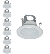10cm Light White Stepped Baffle Trim - For 10cm Recessed Can, Fits Halo/Juno Remodel Housing, Four Bros Lighting SB4/WHT, 6 Pack