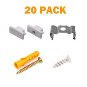 20PCS Metal Mounting Clips and End Caps with Screws for StarlandLed U Shape LED Aluminium Channel