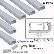 Litever 6-Pack 3.3ft/1 Metre 9x18mm U Shape Aluminium Channels With Diffuser, End Caps and Mounting Clips LED Strip Channels for Max 16mm Wide LED Lightstrip Light Mounting--LL-007-M